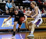SIOUX FALLS, SD: MARCH 21:  Carolyn Appleby #5 of Indiana (PA) reels in a loose ball with Jodi Johnson #21 of Ashland close by during their game at the 2018 Division II Women's Basketball Championship at the Sanford Pentagon in Sioux Falls, S.D. (Photo by Dick Carlson/Inertia)