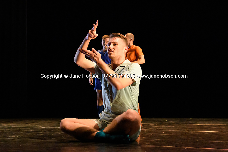 """London, UK. 09.10.19. Deaf Men Dancing present """"Time"""", a triple bill of work, comprising """"Hear! Hear!"""", """"TEN"""" and """"The Progress Score"""", as part of Greenwich Performs, at Laban Theatre, Greenwich, on the 9th and 10th October.  The piece shown is: The Progress Score, choreographed by Mark Smith. Lighting design is by Jonathan Samuels, with costume design by DMD. The dancers are: 'Liam' - Joseph Porton<br /> 'George' - Joseph Fletcher<br /> 'Dennis ' - Aaron Rahn<br /> 'Kyle' - Joshua Kyle-Cantrill. Photograph © Jane Hobson."""