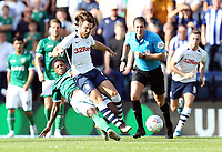 Preston North End's Ben Pearson goes down under the challenge from Sheffield Wednesday's Kadeem Harris<br /> <br /> Photographer Rich Linley/CameraSport<br /> <br /> The EFL Championship - Preston North End v Sheffield Wednesday - Saturday August 24th 2019 - Deepdale Stadium - Preston<br /> <br /> World Copyright © 2019 CameraSport. All rights reserved. 43 Linden Ave. Countesthorpe. Leicester. England. LE8 5PG - Tel: +44 (0) 116 277 4147 - admin@camerasport.com - www.camerasport.com