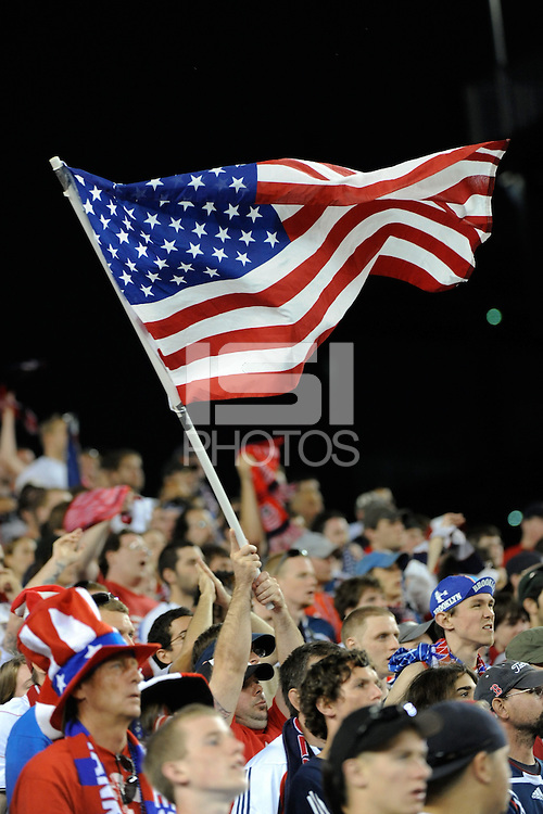 United States (USA) fans. The United States and Haiti played to a 2-2 tie during a CONCACAF Gold Cup Group B group stage match at Gillette Stadium in Foxborough, MA, on July 11, 2009. .
