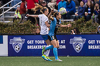 Allston, MA - Saturday, May 07, 2016: Boston Breakers defender Julie King (8) and Chicago Red Stars forward Jennifer Hoy (2) during a regular season National Women's Soccer League (NWSL) match at Jordan Field.