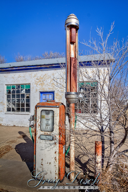 An abandoned service station on Route 66 in McLean Texas.