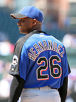 New York Mets pitcher Orlando Hernandez #26 before a game against the Chicago Cubs at Wrigley Field on July 15, 2006 in Chicago, Illinois.  (Mike Janes/Four Seam Images)