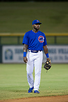 AZL Cubs shortstop Delvin Zinn (21) on defense against the AZL Mariners on August 4, 2017 at Sloan Park in Mesa, Arizona. AZL Cubs defeated the AZL Mariners 5-3. (Zachary Lucy/Four Seam Images)