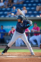 Mobile BayBears Jhoan Urena (14) at bat during a Southern League game against the Mobile BayBears on July 25, 2019 at Blue Wahoos Stadium in Pensacola, Florida.  Pensacola defeated Mobile 2-1 in the first game of a doubleheader.  (Mike Janes/Four Seam Images)