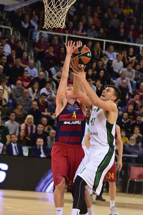 Turkish Airlines Euroleague 2016/2017.<br /> Regular Season - Round 15.<br /> FC Barcelona Lassa vs Darussafaka Dogus Istanbul: 81-77.<br /> Aleksandar Vezenkov vs Ante Zizic.