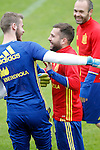 Spain's David De Gea (l), Jordi Alba (c) and Andres Iniesta during preparing training stage to Euro 2016. May 30,2016.(ALTERPHOTOS/Acero)