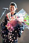 July 27 2012, Tokyo, Japan  The winner Shoko Kondo speaks at Yukata Beauty Contest in Koichi Festival. Shoko Kondo, one of the 10 finalists of 270 candidates, wins the annual Yukata Beauty Festival at Koichi Festival in Shimbashi, Tokyo. (Photo by Rodrigo Reyes Marin/AFLO)..