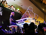 September 9, 2017, Tokyo, Japan - Japanese singer and composer YOSHIKI plays piano before hundreds of shoppers at the opening ceremony for the Vogue Fashion's Night Out 2017 in Tokyo on Saturday, September 9, 2017. Some 630 shops participated one-night fashion shopping event in Tokyo. (Photo by Yoshio Tsunoda/AFLO) LWX -ytd-