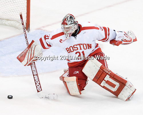 Kieran Millan (BU - 31) - The Boston University Terriers defeated the Merrimack College Warriors 3-0 on Sunday, March 14, 2010, at Agganis Arena in Boston, Massachusetts, to win their Hockey East Quarterfinals matchup 2-1.