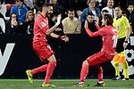 Real Madrid's Karim Benzema (L) and Luka Modric (R) celebrate goal during La Liga match between CD Leganes and Real Madrid at Butarque Stadium in Leganes, Spain. April 15, 2019. (ALTERPHOTOS/A. Perez Meca)