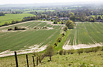 Steep chalk scarp slope view over Oare village, Vale of Pewsey, Wiltshire, England, UK