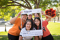 Student members in the First Gen Club pose for a picture, clockwise from top left: Isabel Ruiz '21, Joscelyn Guzman '18, Francisca Castro '21, Darla Chavez '21 and Leslie Serrano '21. Occidental College celebrates Homecoming and Family Weekend on Saturday, Oct. 14, 2017 at Oswald's Homecoming Party in the Academic Quad, featuring games, activity booths, a pub and food.<br />