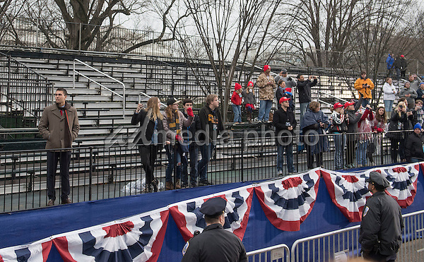 Partially empty bleachers are seen as President Donald Trump and First Lady Melania Trump participate in their inaugural parade after being sworn-in as the 45th President in Washington, D.C. on January 20, 2017. Photo Credit: Kevin Dietsch/CNP/AdMedia