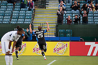 Ellis McLoughin celebrates after his goal. The Chicago Fire defeated the San Jose Earthquakes after going 5-4 on penalty kicks, after a 2-2 score in regulation during the US Open Cup at Buck Shaw Stadium in Santa Clara, California on May 24th, 2011.