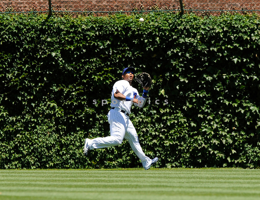 MARLON BYRD, of the Chicago Cubs, in action during the Cubs game against the Los Angeles Angels at Wrigley Field in Chicago, IL on June 19, 2010.  ..The Angels won the game 12-0...