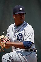 GCL Tigers West pitcher Francisco Jimenez (30) in the bullpen during a Gulf Coast League game against the GCL Phillies West on July 27, 2019 at the Carpenter Complex in Clearwater, Florida.  (Mike Janes/Four Seam Images)