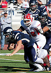 October 22, 2011:  Nevada Wolf Pack quarterback Cody Fajardo dives for extra yardage in the third quarter against the Fresno State Bulldogs during a WAC league game played at Mackay Stadium in Reno, Nevada.