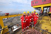 JOHANN MULLER VISITS HARLAND &amp; WOLFF BELFAST -    Wednesday 30th April 2014<br /> <br /> Seamus McCracken, Gavin Andrews, David McVeigh, Jimmy Wright, Johann Muller and Mariska Muller on top of the Samson crane during a visit to the Harland &amp; Wolff shipyard in Belfast.<br /> <br /> Mandatory Credit - Photo by John Dickson - DICKSONDIGITAL