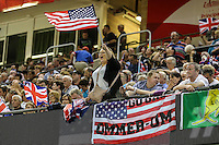 An American supporter shows her support during the 2016 Adrian Flux British FIM Speedway Grand Prix at Principality Stadium, Cardiff, Wales  on 9 July 2016. Photo by David Horn.
