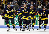 Kyle Bigos (Merrimack - 3), Elliott Sheen (Merrimack - 11), Fraser Allan (Merrimack - 2), Brandon Brodhag (Merrimack - 12), Carter Madsen (Merrimack - 9) - The Boston University Terriers defeated the Merrimack College Warriors 6-4 (EN) on Saturday, January 16, 2010, at Agganis Arena in Boston, Massachusetts.