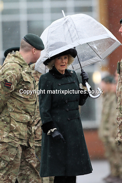 NON EXCLUSIVE PICTURE: TREVOR ADAMS / MATRIXPICTURES.CO.UK<br /> PLEASE CREDIT ALL USES<br /> <br /> WORLD RIGHTS<br /> <br /> Camilla the Duchess of Cornwall visits The 4th Battalion, The Rifles at Normandy Barracks, Aldershot, Hampshire.<br /> <br /> The Duchess attends a homecoming parade where she meets soldiers who have recently returned from a deployment to Iraq.   <br /> <br /> FEBRUARY 27th 2017<br /> <br /> REF: MTX 17430