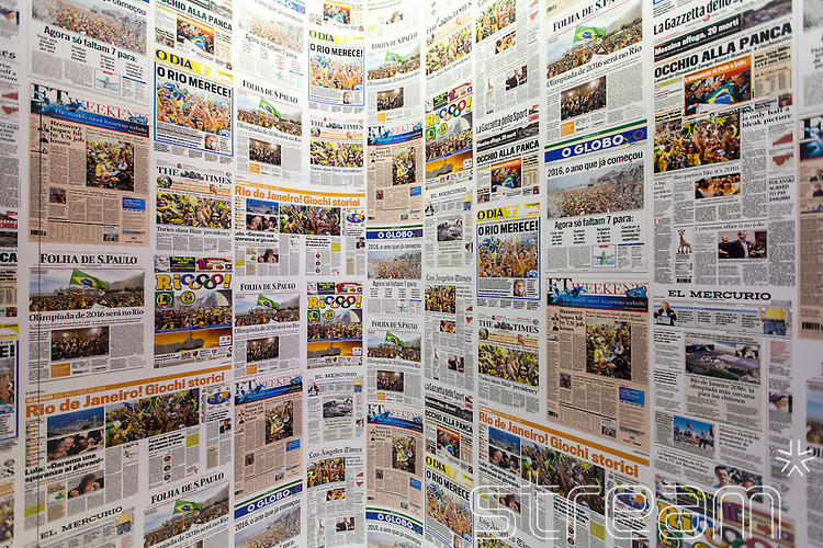 A collage of articles from Brazilian and international newspapers reporting Rio's bid win to host the 2016 Olympic games. part of the Casa Brazil exhibition at Somerset House, London 2012.