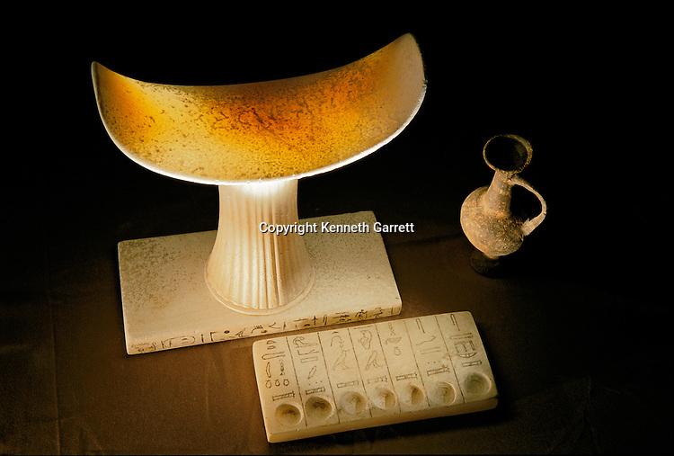 Alabaster headrest of Tetiankhkem and offering tablet of the seven sacred oils,Old Kingdom