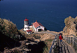 Visitors on stairway at Point Reyes Lighthouse