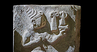 Hittite orthostat relief depicting a god. Hittie Period 1450 - 1200 BC. Hattusa Boğazkale. Çorum Archaeological Museum, Corum, Turkey. Çorum Archaeological Museum, Corum, Turkey. Against a black bacground.