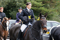 "Pictured: Mourners arrive at Margam Crematorium, Wales, UK. Monday 08 October 218<br /> Re: A grieving father will mourners on horseback at the funeral of his ""wonderful"" son who killed himself after being bullied at school.<br /> Talented young horse rider Bradley John, 14, was found hanged in the school toilets by his younger sister Danielle.<br /> Their father, farmer Byron John, 53, asked the local riding community to wear their smart hunting gear at Bradley's funeral.<br /> Police are investigating Bradley's death at the 500-pupils St John Lloyd Roman Catholic school in Llanelli, South Wales.<br /> Bradley's family claim he had been bullied for two years after being diagnosed with Attention Deficit Hyperactivity Disorder.<br /> He went missing during lessons and was found in the toilet cubicle by his sister Danielle, 12."