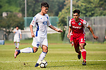 Yongfeng Liang R&F F.C in action against Kwok Fai Sham of Kwoon Chung Southern (R) during the week three Premier League match between Kwoon Chung Southern and R&F at Aberdeen Sports Ground on September 16, 2017 in Hong Kong, China. Photo by Marcio Rodrigo Machado / Power Sport Images