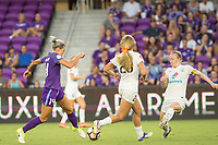 Orlando, FL - Saturday July 15, 2017: Alanna Kennedy, Becky Sauerbrunn during a regular season National Women's Soccer League (NWSL) match between the Orlando Pride and FC Kansas City at Orlando City Stadium.