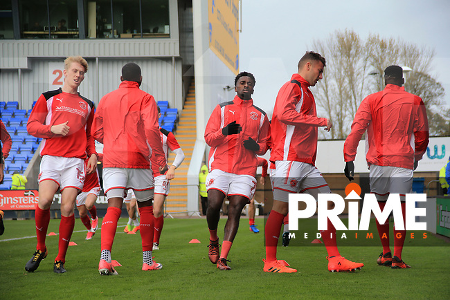 Jordy Hiwula of Fleetwood Town warming up prior to the  the Sky Bet League 1 match between Shrewsbury Town and Fleetwood Town at Greenhous Meadow, Shrewsbury, England on 21 October 2017. Photo by Leila Coker / PRiME Media Images.