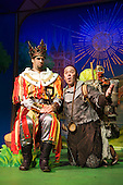 Monty Python's Spamalot at The New Wimbledon Theatre, Musical by Eric Idle and John Du Prez featuring Marcus Brigstocke as King Arthur, Todd Carty as Patsy, Jodie Prenger as The Lady of the Lake, Robin Armstrong as Sir Bedevere, Samuel Hopkins as Sir Robin, Simon Lipkin as Sir Dennis Galahad and Graham MacDuff as Sir Lancelot (Photo: Bettina Strenske)
