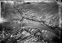 Tatenberger Schleuse mit Siel,  Bildvergleich zu einem Luftbild aus dem Jahr 1921.Tatenberg, Moorfleet,
