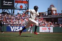 SAN FRANCISCO, CA - JULY 31:  Denard Span #2 of the San Francisco Giants runs the bases against the Washington Nationals during the game at AT&T Park on Sunday, July 31, 2016 in San Francisco, California. Photo by Brad Mangin