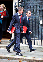 LONDON, UNITED KINGDOM - NOVEMBER 06: Gavin Williamson, U.K. defence secretary, left, and Alun Cairns, U.K. Welsh secretary, leaves after a Cabinet meeting at 10 Downing Street in central London. November 06, 2018 in London, England. <br /> CAP/GOL<br /> &copy;GOL/Capital Pictures