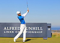Moritz Lampert (GER) on the 8th tee during Round 1 of the 2015 Alfred Dunhill Links Championship at Kingsbarns in Scotland on 1/10/15.<br /> Picture: Thos Caffrey | Golffile