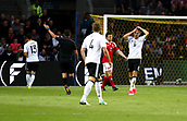 June 6th 2017, Brondby Stadium, in Brondby, Copenhagen, Denmark;  Germany's Leon Goretzka (R) gestures as a close miss during the international  match between Denmark and Germany at the Brondby Stadium