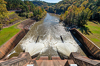 Nimrod Dam - We happen across the Nimrod Dam as it was realeasing water down stream in our drive through the Ouachita National Forest.  The power of water is always an impressive site. In our area you can not walk across the top of a dam so we were surprised you could here so of course we had to take the shot.  Since 911 we have not been able to even get on our dams in our area of Texas.