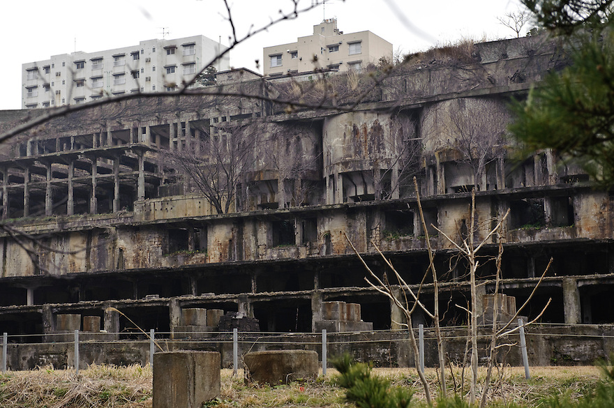 Disused buildings once belonging to Sado Kinzan gold mine, Sado island, Niigata, Japan, April 5, 2009..Sado island, off the north coast of Japan's main island, is famous as the home of the Kodo drummers and the annual Earth Celebration arts festival.