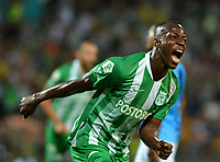 MEDELLÍN-COLOMBIA, 18-08-2019: Baldomero Perlaza de Atlético Nacional, celebra el gol anotado a Unión Magdalena, durante partido de la fecha 6 entre Atlético Nacional y Unión Magdalena, por la Liga Águila II 2019, jugado en el estadio Atanasio Girardot de la ciudad de Medellín. / Baldomero Perlaza of Atletico Nacional celebrates the scored goal to Union Magdalena, during a match of the 6th date between Atletico Nacional and Union Magdalena, for the Aguila Leguaje II 2019 played at the Atanasio Girardot Stadium in Medellin city. / Photo: VizzorImage / León Monsalve / Cont.