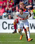 Los Angeles FC forward Marco Urena (21) is grabbed from behind by Real Salt Lake defender Justen Glad (15) in the first half Saturday, March 10, 2018, during the Major League Soccer game at Rio Tiinto Stadium in Sandy, Utah. LAFC beat RSL 5-1. (© 2018 Douglas C. Pizac)