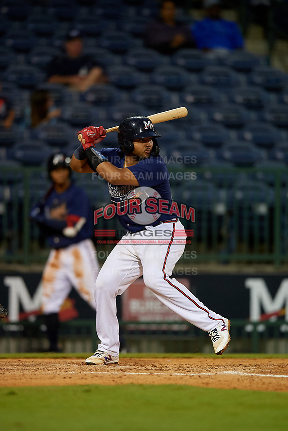 Mississippi Braves Carlos Martinez (54) at bat during a Southern League game against the Jacksonville Jumbo Shrimp on May 4, 2019 at Trustmark Park in Pearl, Mississippi.  Mississippi defeated Jacksonville 2-0.  (Mike Janes/Four Seam Images)
