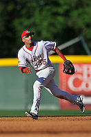 Shortstop Jeremy Rivera (35) of the Greenville Drive plays defense in a game against the Columbia Fireflies on Sunday, April 24, 2016, at Fluor Field at the West End in Greenville, South Carolina. Greenville won, 5-1. (Tom Priddy/Four Seam Images)