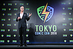 """Pop Cult Inc. CEO Trip Hunter attends a press conference to unveil the """"Tokyo Comic Con 2016"""" in Tokyo, Japan, on December 4, 2015. The inaugural Tokyo Comic Con will take place at the Mukahari Messe Convention Center from December 3-4, 2016. (Photo by Pasya/AFLO)"""