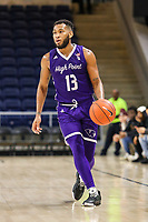 Washington, DC - December 22, 2018: High Point Panthers guard Jahaad Proctor (13) looks to pass the ball during the DC Hoops Fest between Hampton and Howard at  Entertainment and Sports Arena in Washington, DC.   (Photo by Elliott Brown/Media Images International)