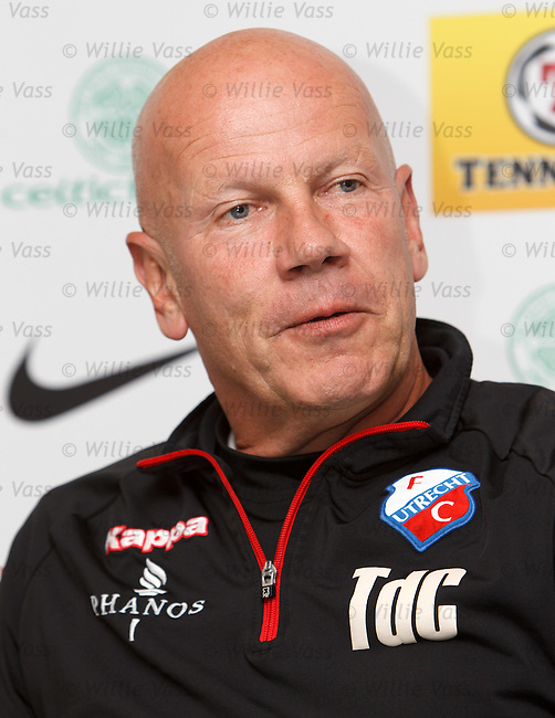 FC Utrecht coach Ton du Chatinier at the pre-match press conference at Celtic Park ahead of the Euopa League match