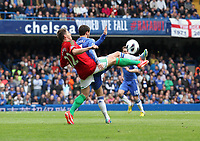 Pictured: Angel Rangel tackles Eden hazard<br />